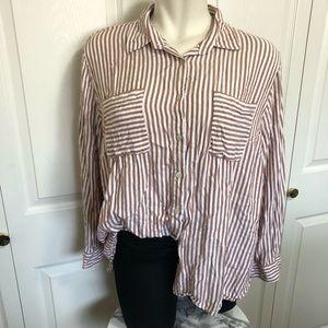 Ava & Viv rust striped button up blouse sz.3X